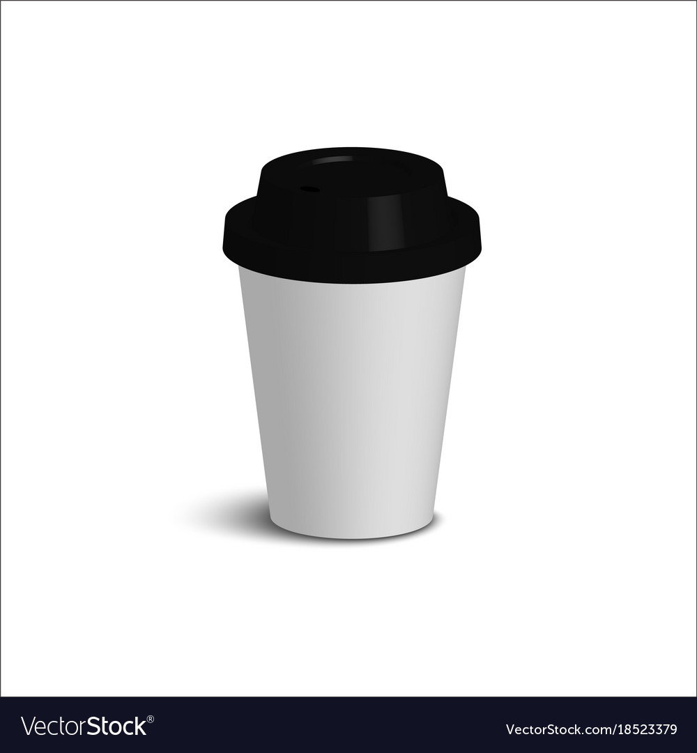 02051d87c02 Realistic paper coffee cup set black cover white