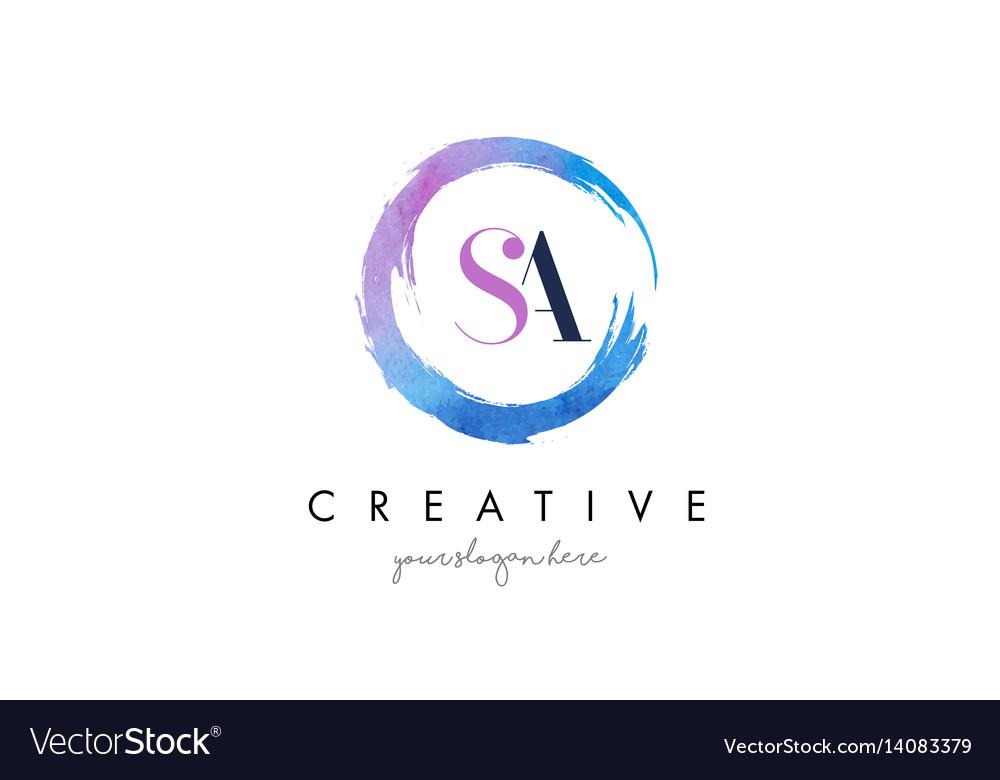 Sa letter logo circular purple splash brush vector image