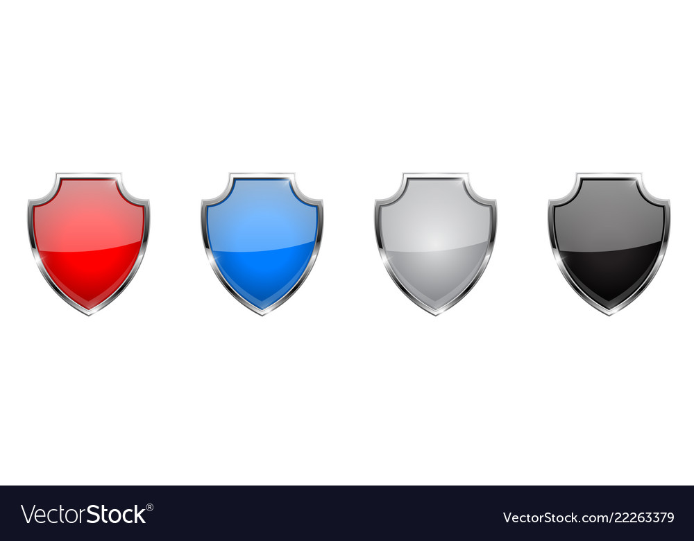 Shield icon glass 3d colored web signs with