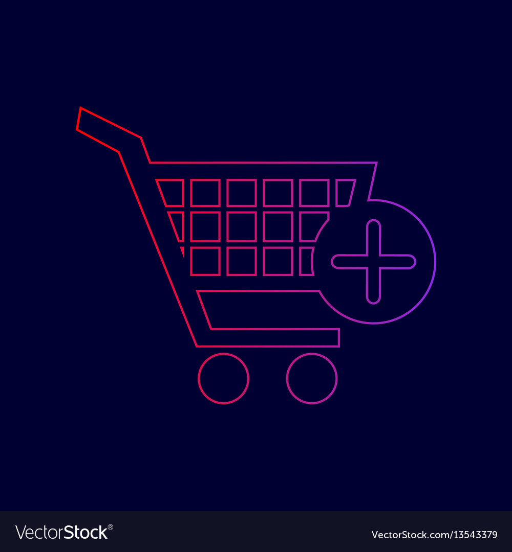 Shopping cart with add mark sign line