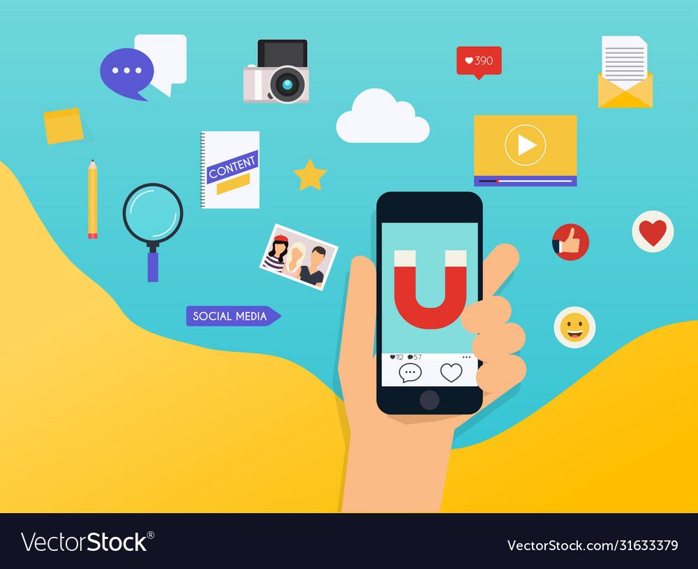 Social media marketing smm explained flat design