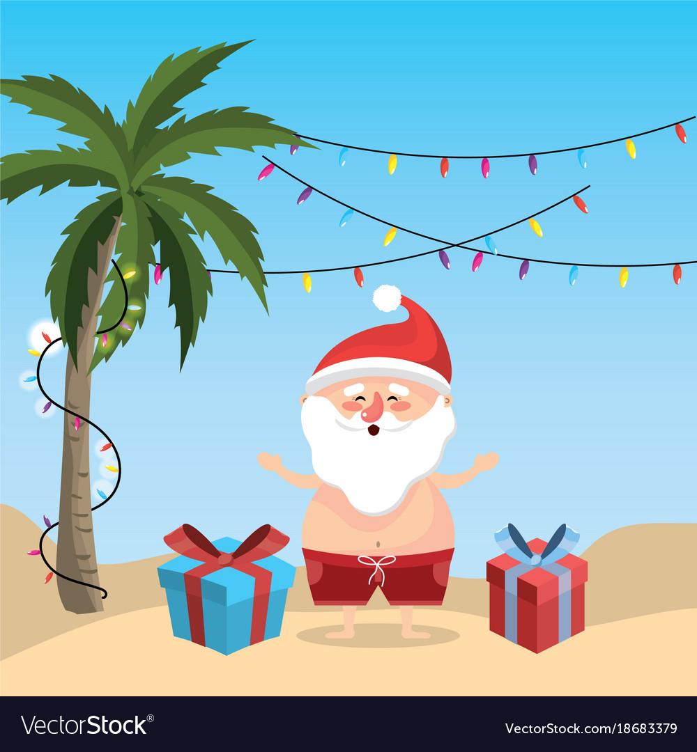 0ac0f38bb4dd summer holiday vacation with santa claus vector image .