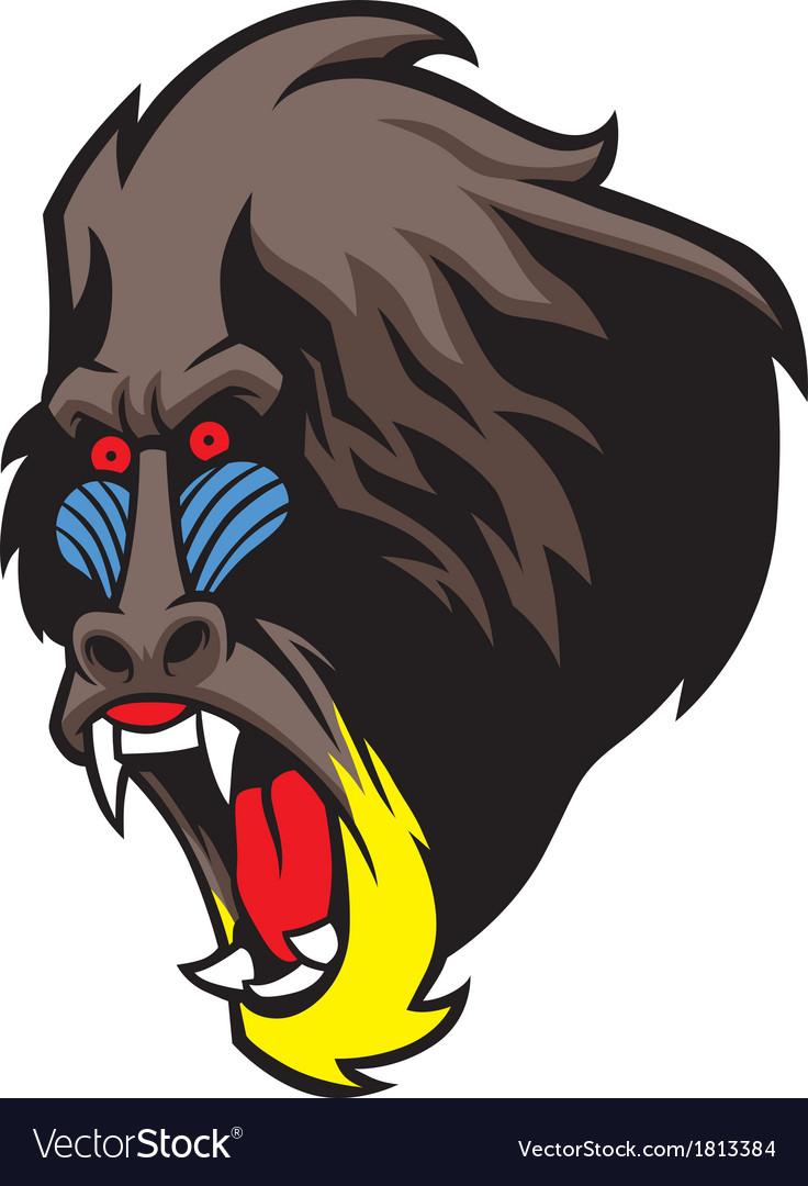Angry baboon head