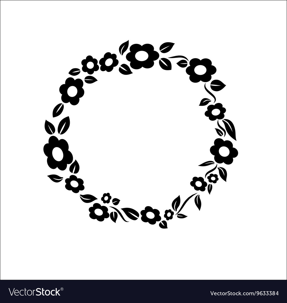 Black and white vintage flower ring frame vector image mightylinksfo