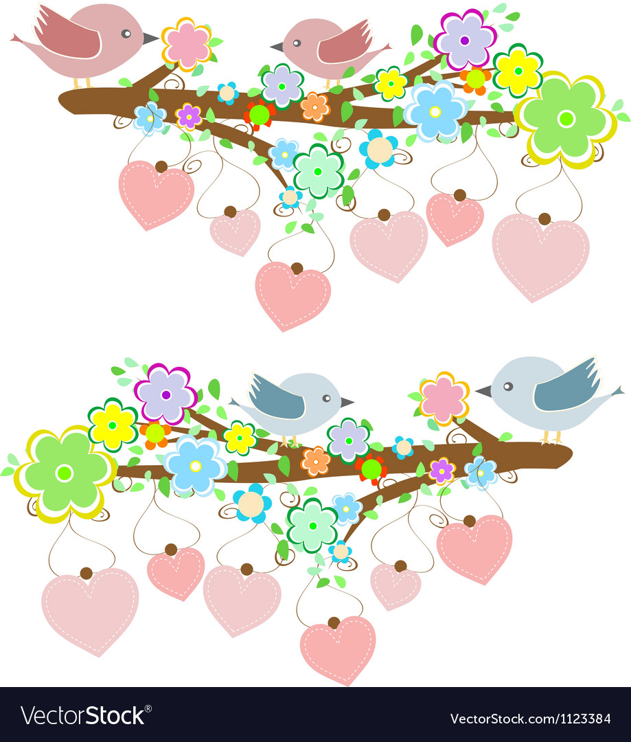 Cards with couples of birds sitting on branches vector image