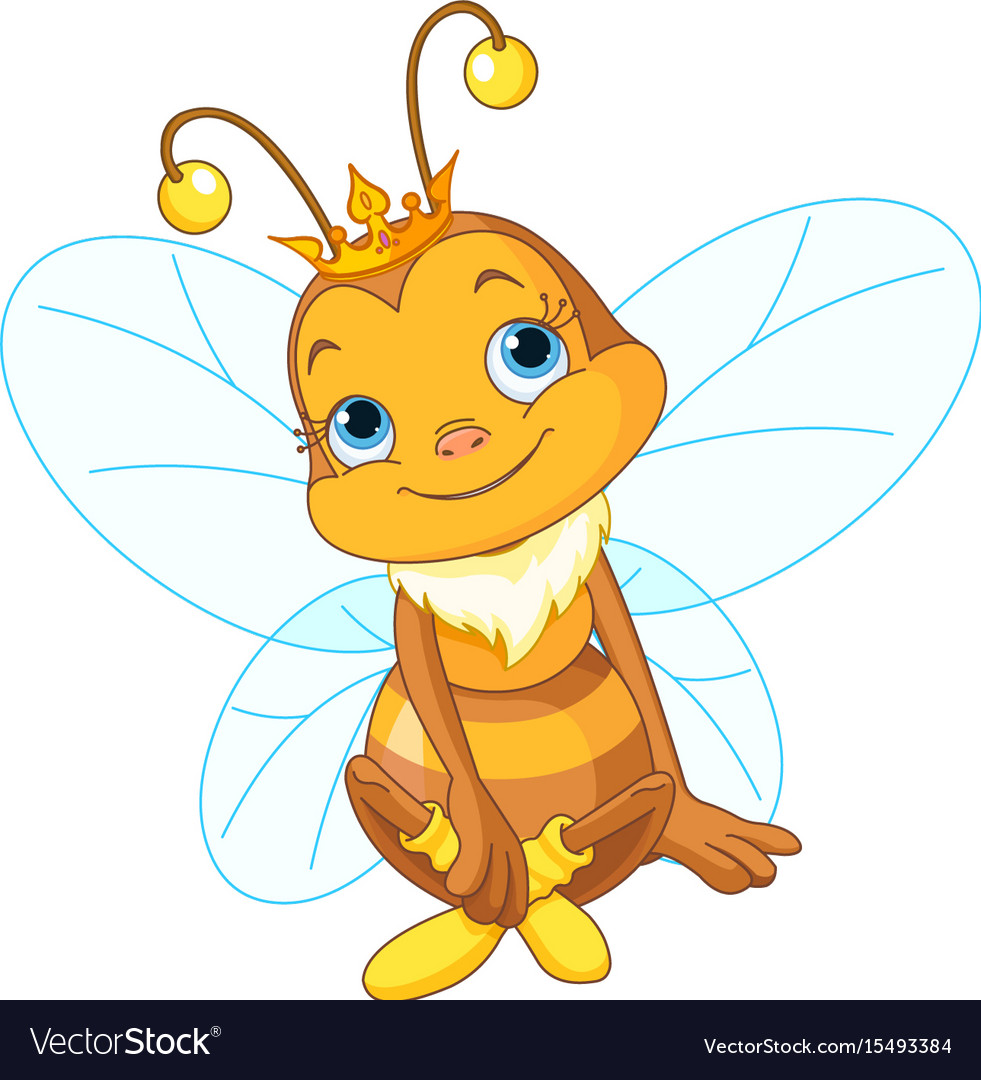 Cute queen bee Royalty Free Vector Image - VectorStock