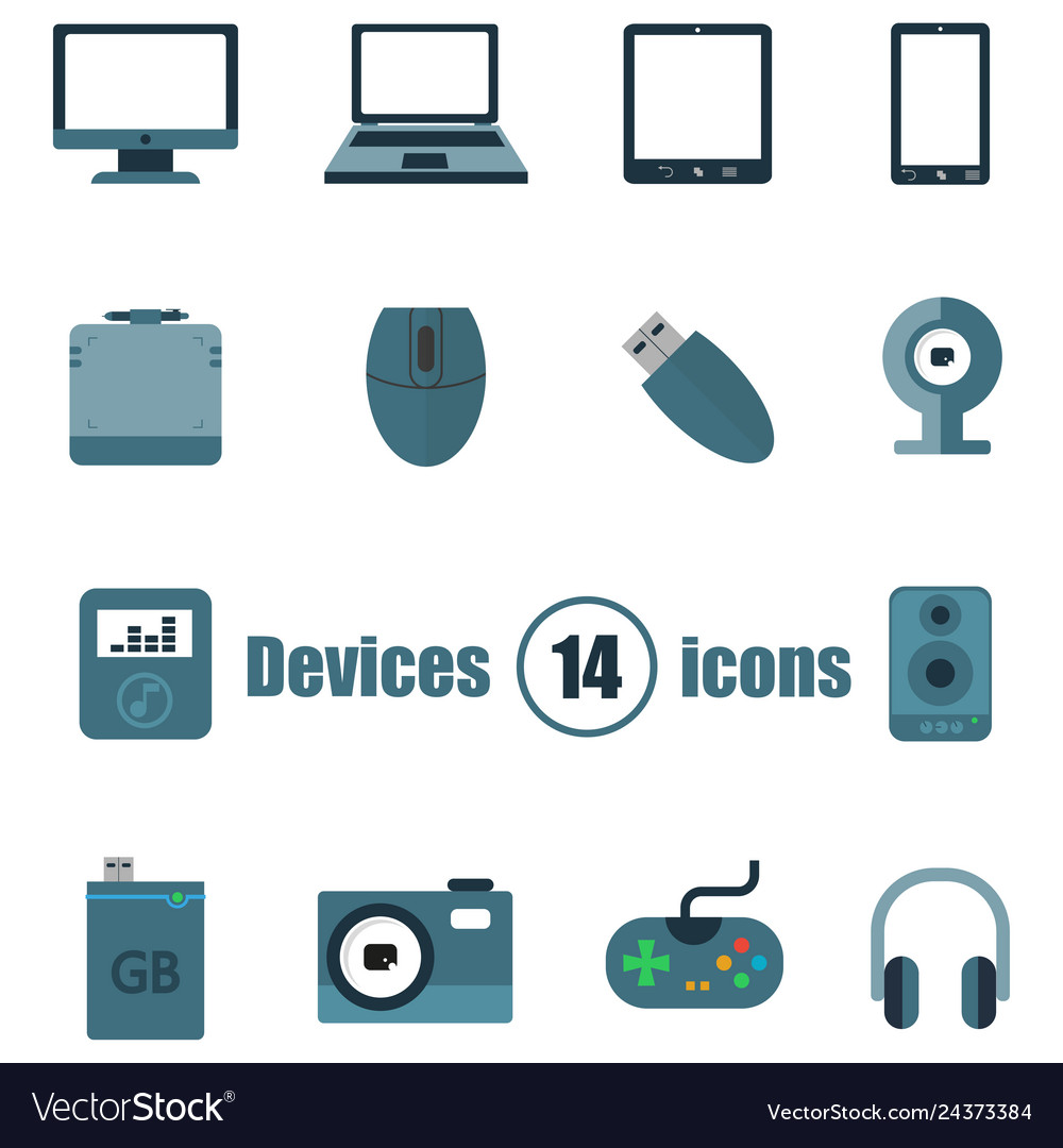 Devices set of 14 icons in a flat style