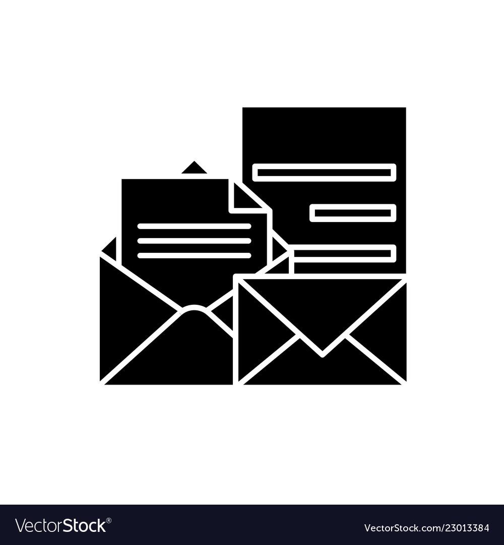 Direct marketing black icon sign on