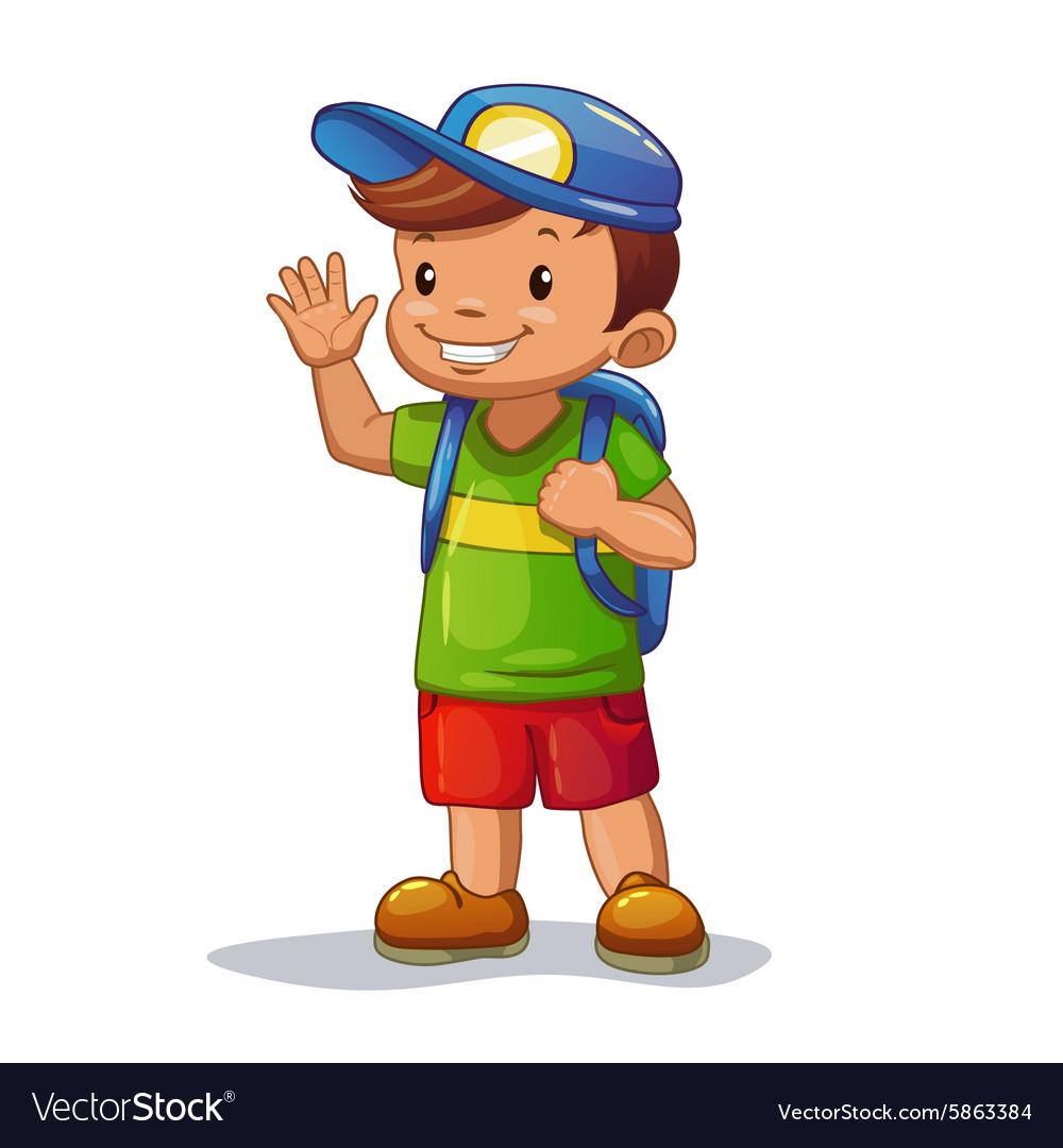 Funny cartoon little boy with school bag Vector Image
