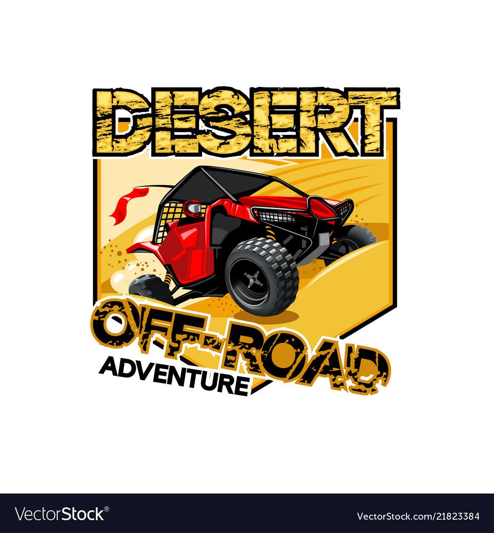 Off-road atv buggy logo desert adventure