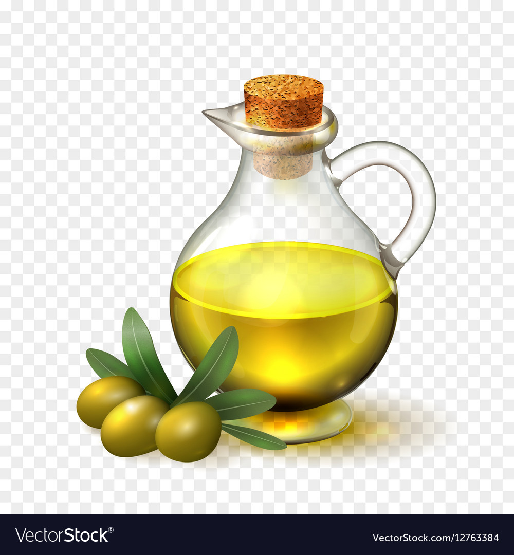 Olive oil in a glass bottle with handle and corck