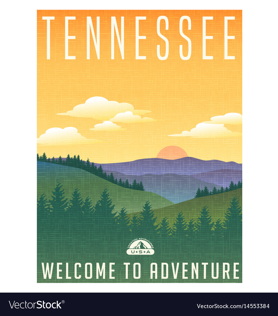 Tennessee mountains travel poster vector image