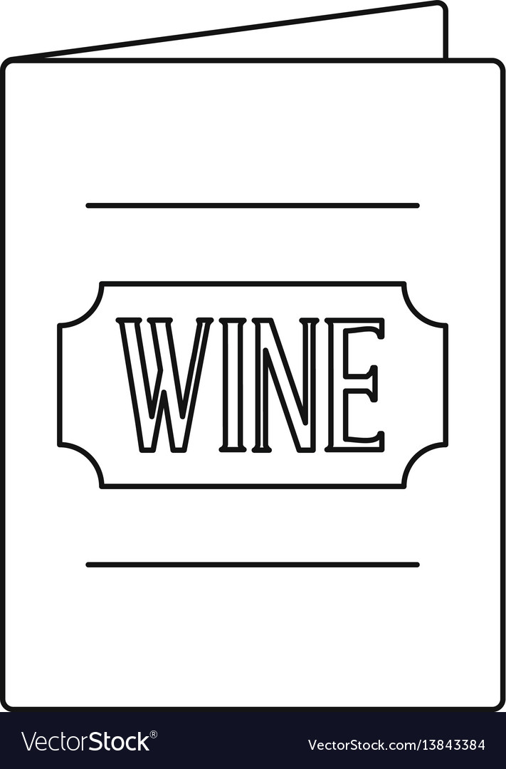 wine menu icon outline style royalty free vector image