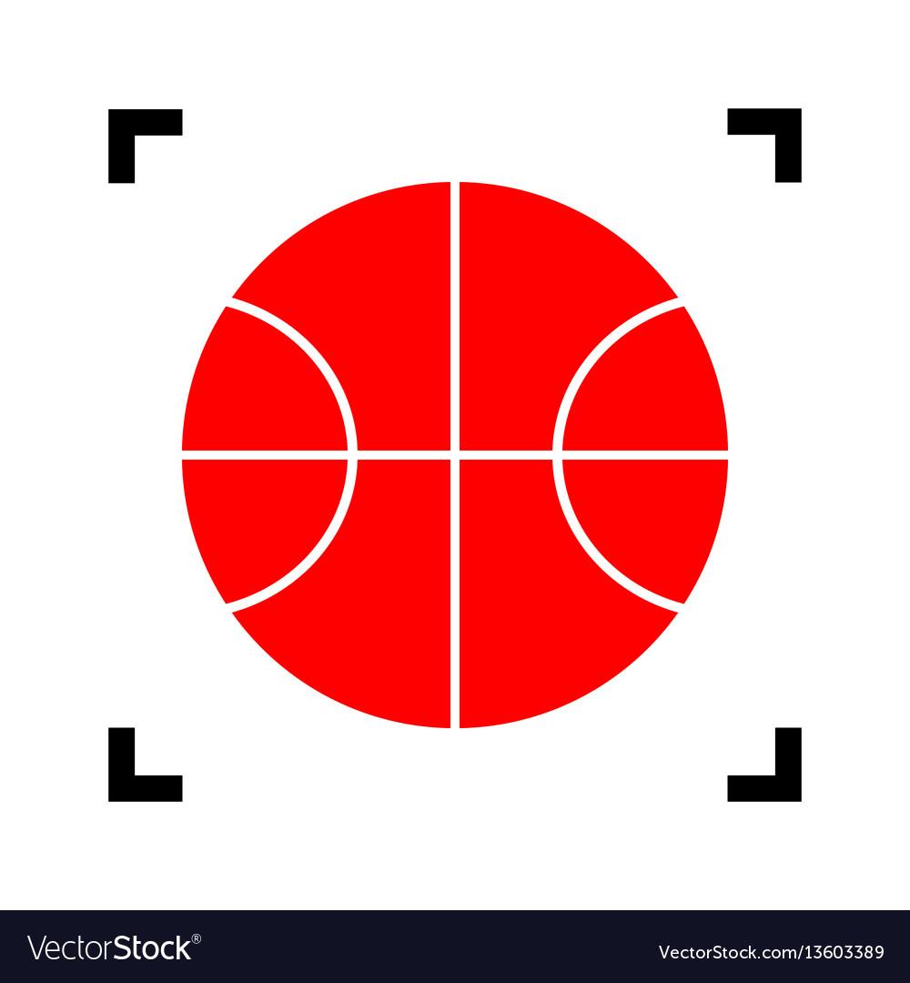 Basketball ball sign red
