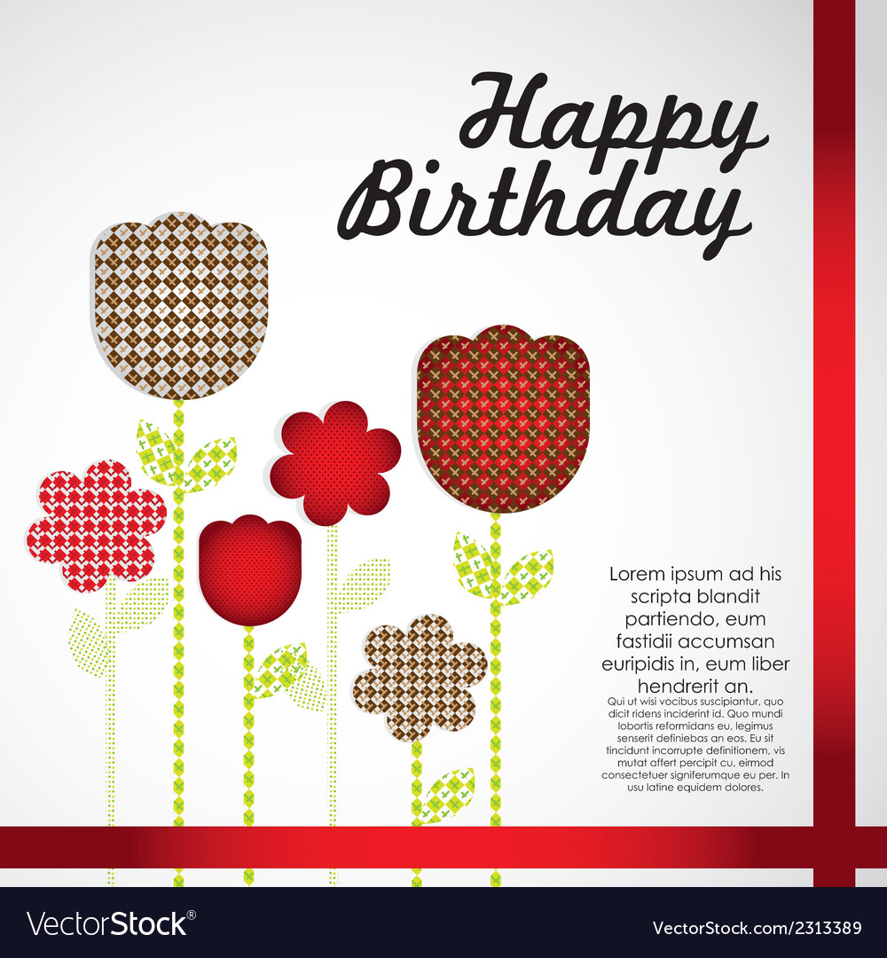 Birthday card with flowers cut from different patt birthday card with flowers cut from different patt vector image izmirmasajfo
