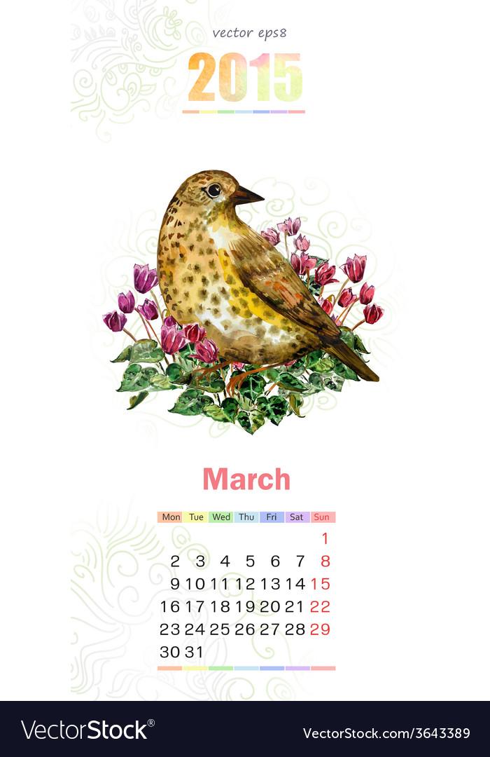 Calendar for 2015 march