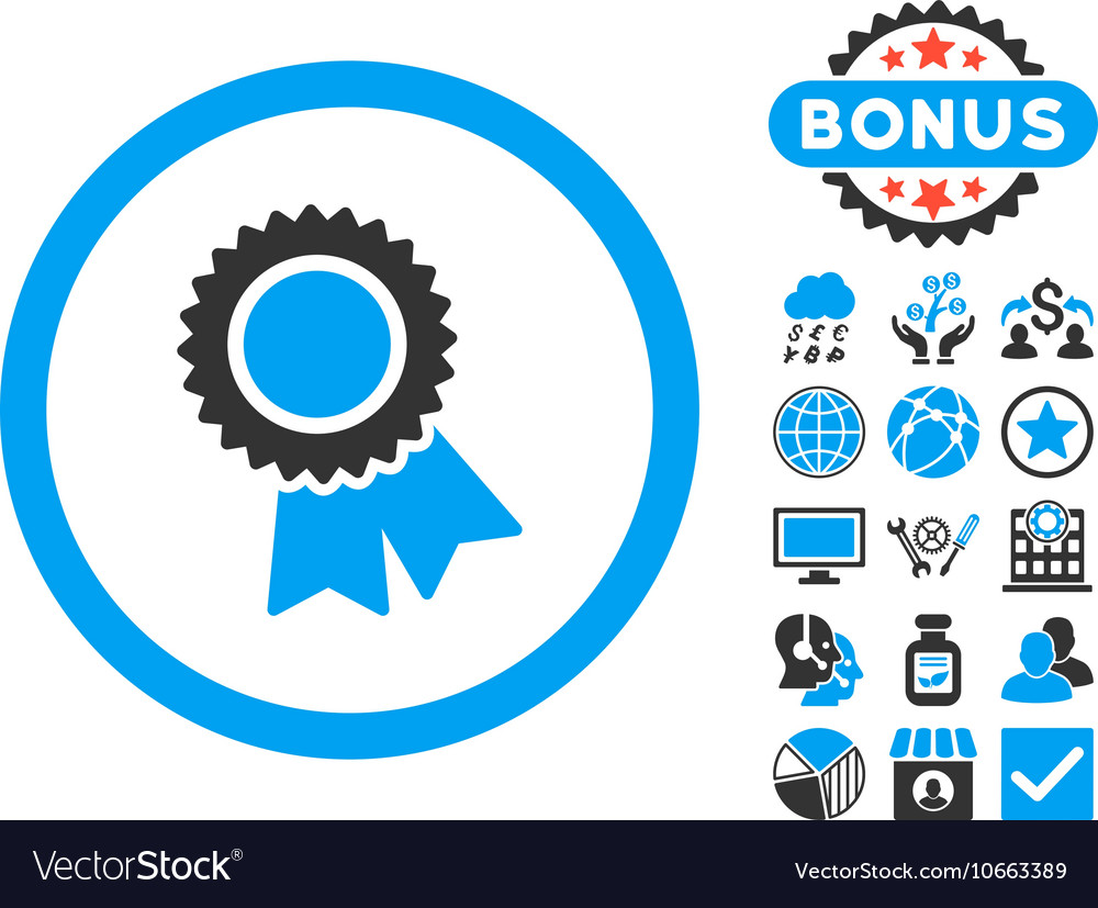 Certification Flat Icon With Bonus Royalty Free Vector Image