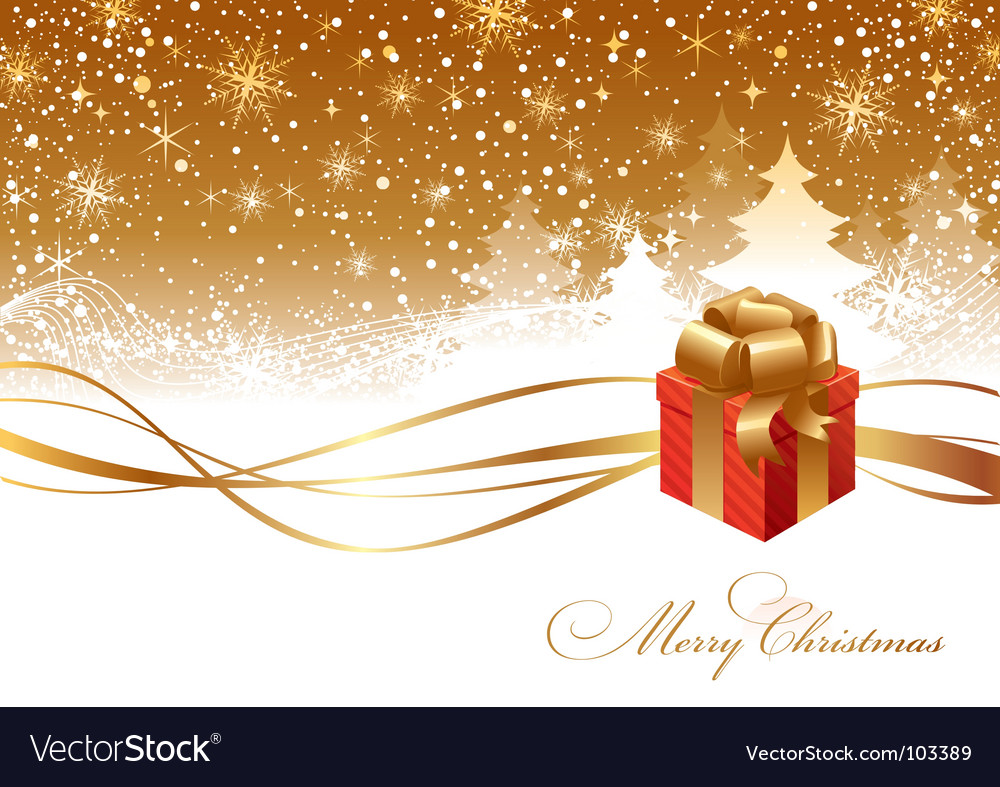 Christmas landscape and gift box