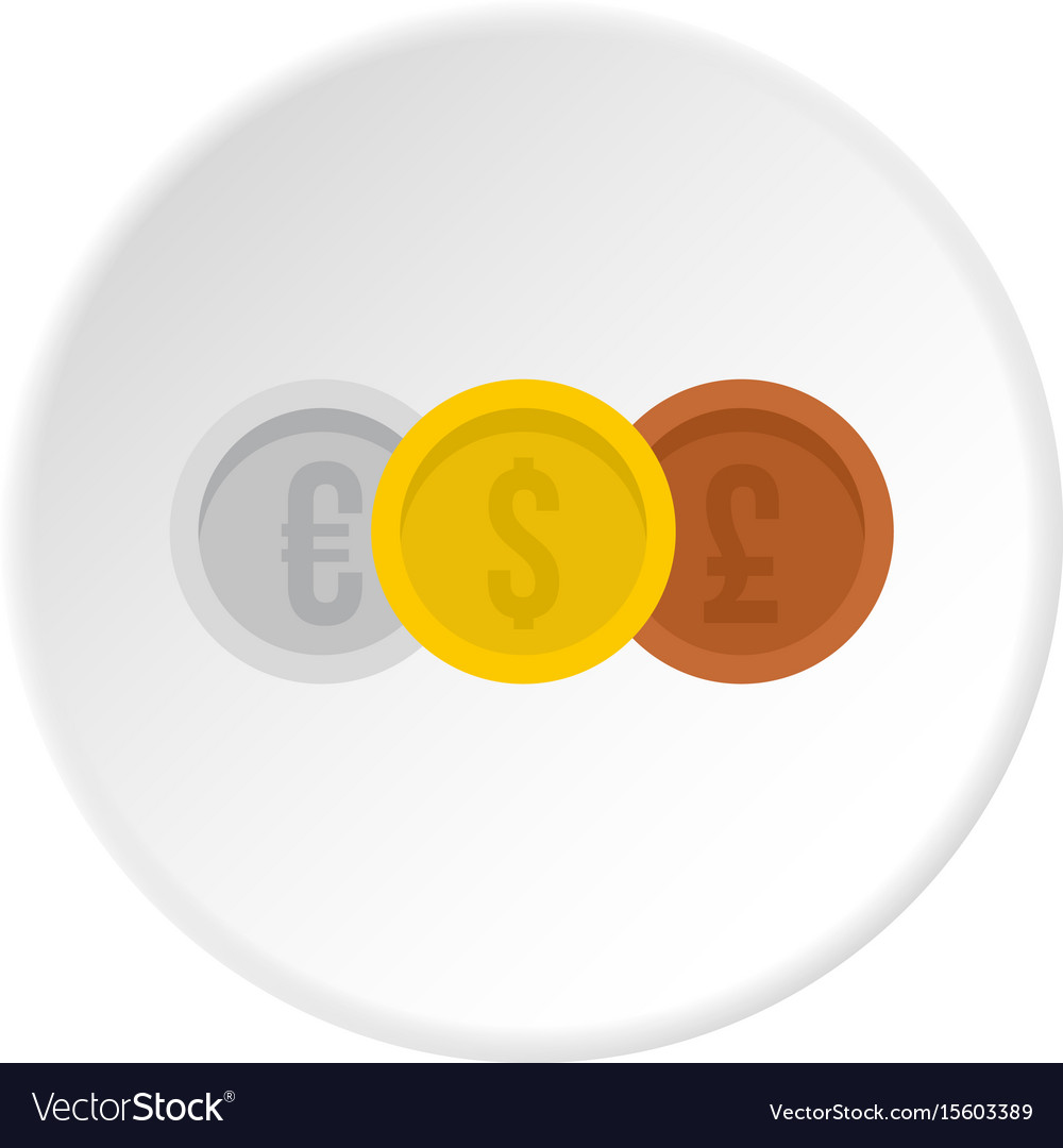 Coins euro with dollar and pound icon circle