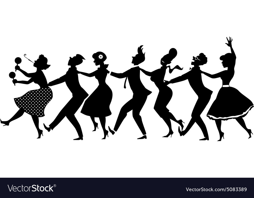 conga dance silhouette royalty free vector image rh vectorstock com girl dance silhouette vector pole dance silhouette vector