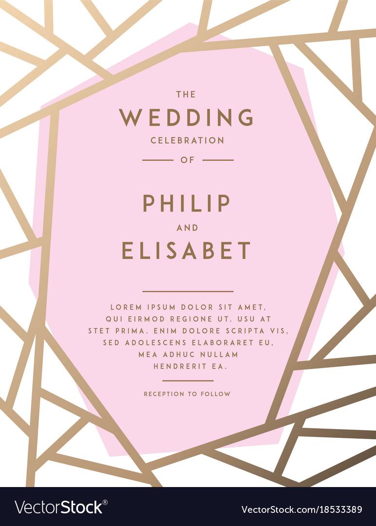 Golden wedding invitation template Royalty Free Vector Image