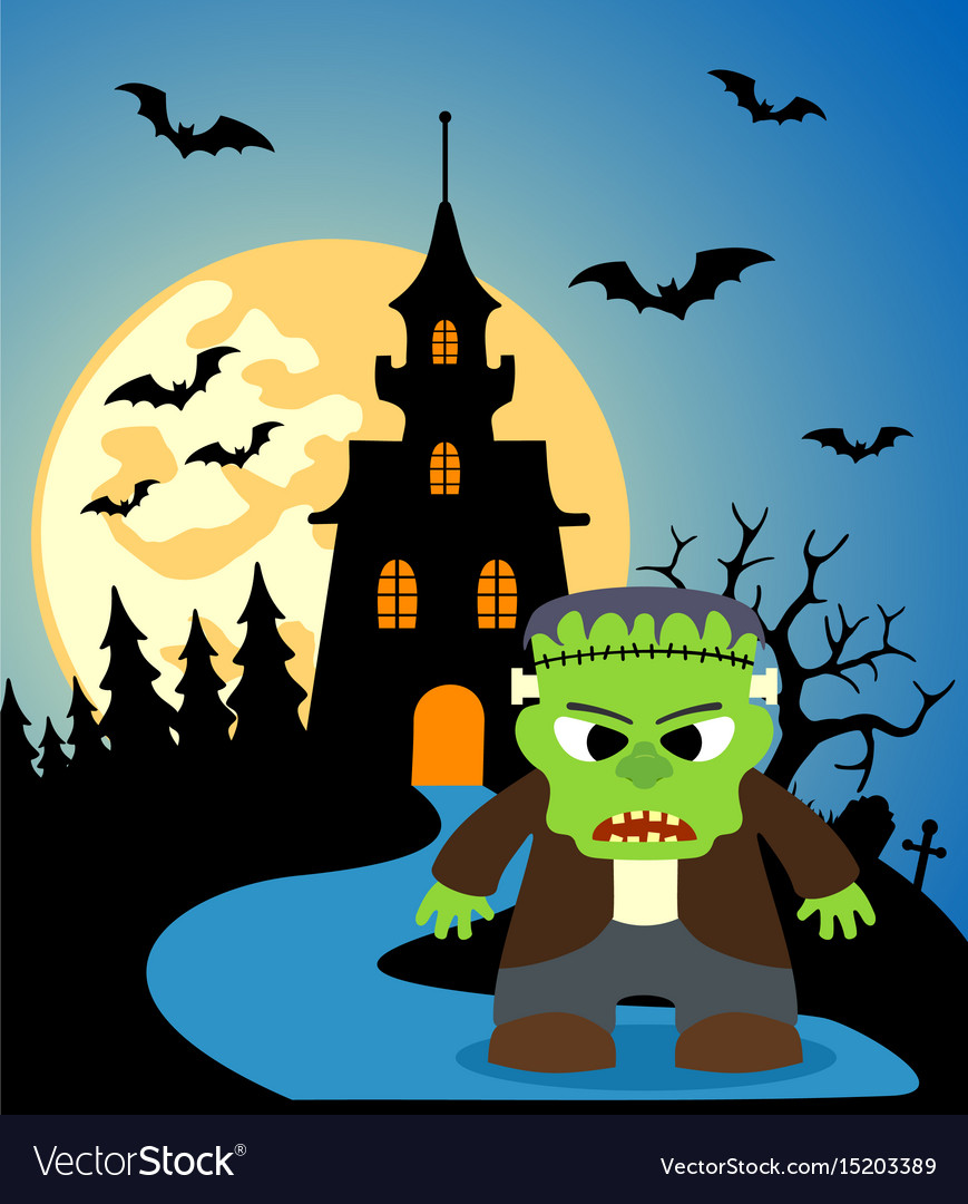 Halloween background with frankenstein and full