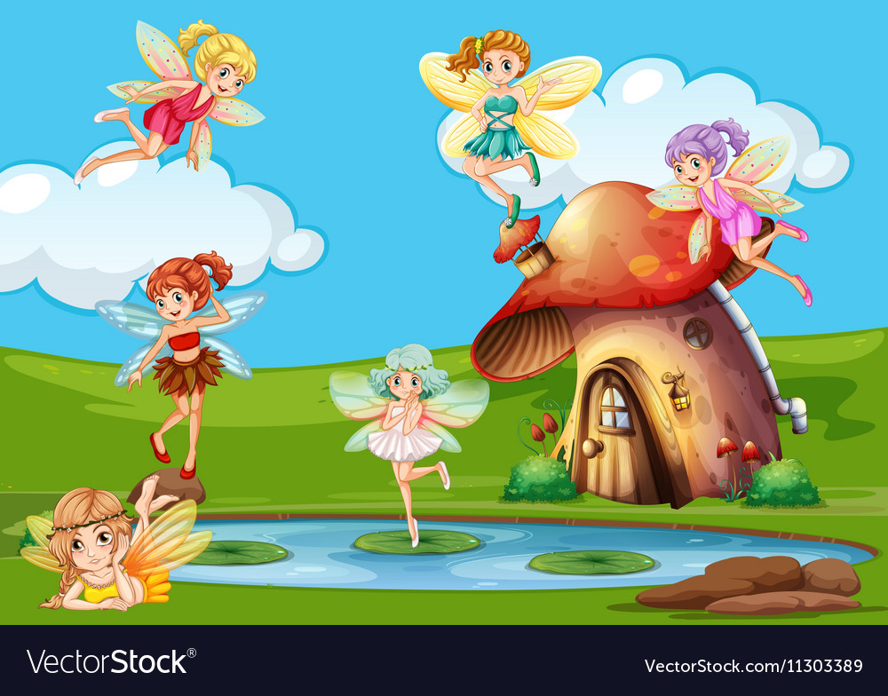 Many fairies flying over the pond vector image