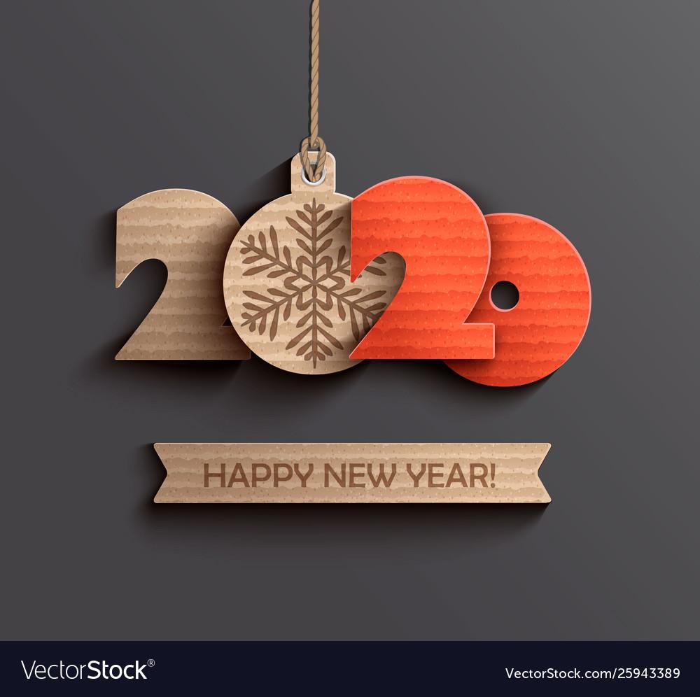 Modern happy new year 2020 paper design