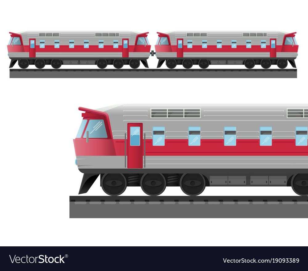 Modern train with solid metal corpus drives on