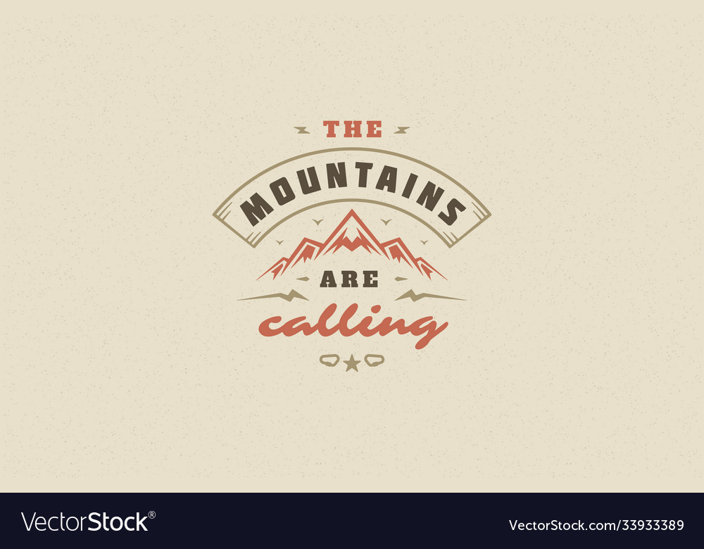 Quote typography with hand drawn mountain rock