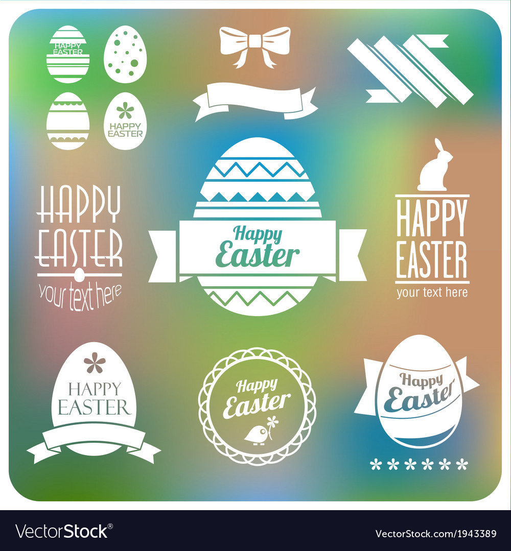 Set of Easter decorative elements and label