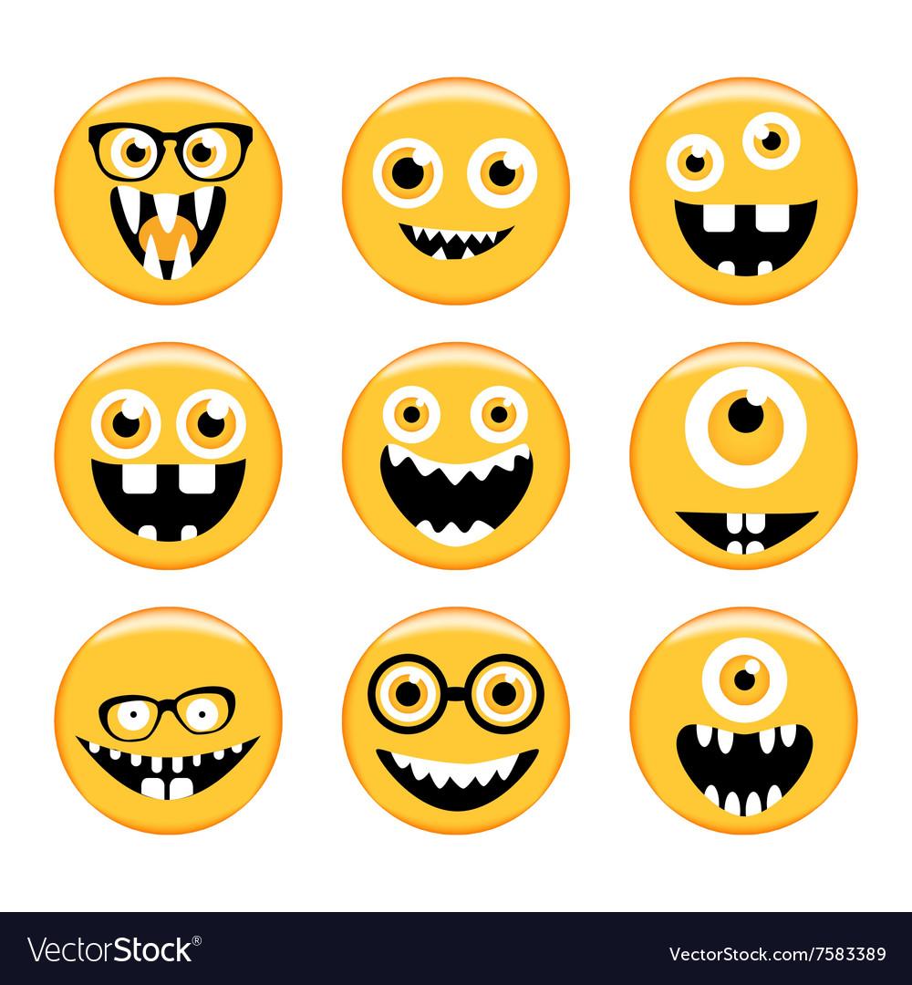 Set of Emoticons Emoji Monster faces in glasses vector image