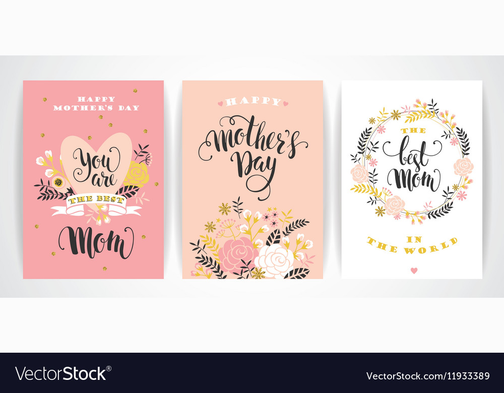 Set of Happy Mothers Day lettering greeting cards