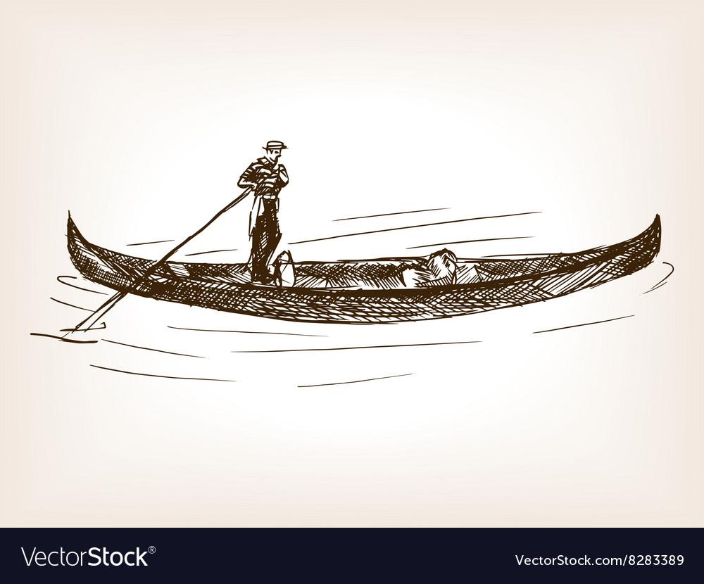 Venetian gondola cab hand drawn sketch