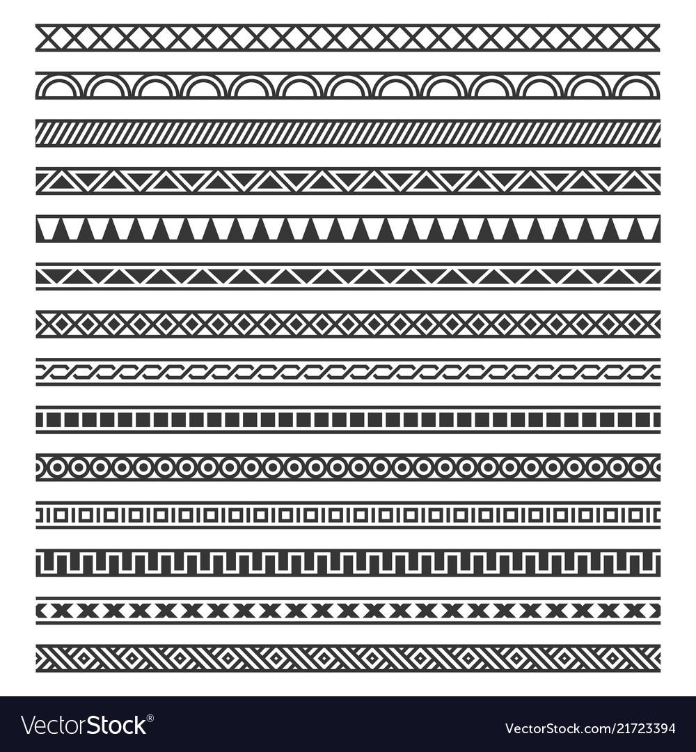 Border decoration seamless patterns set on white