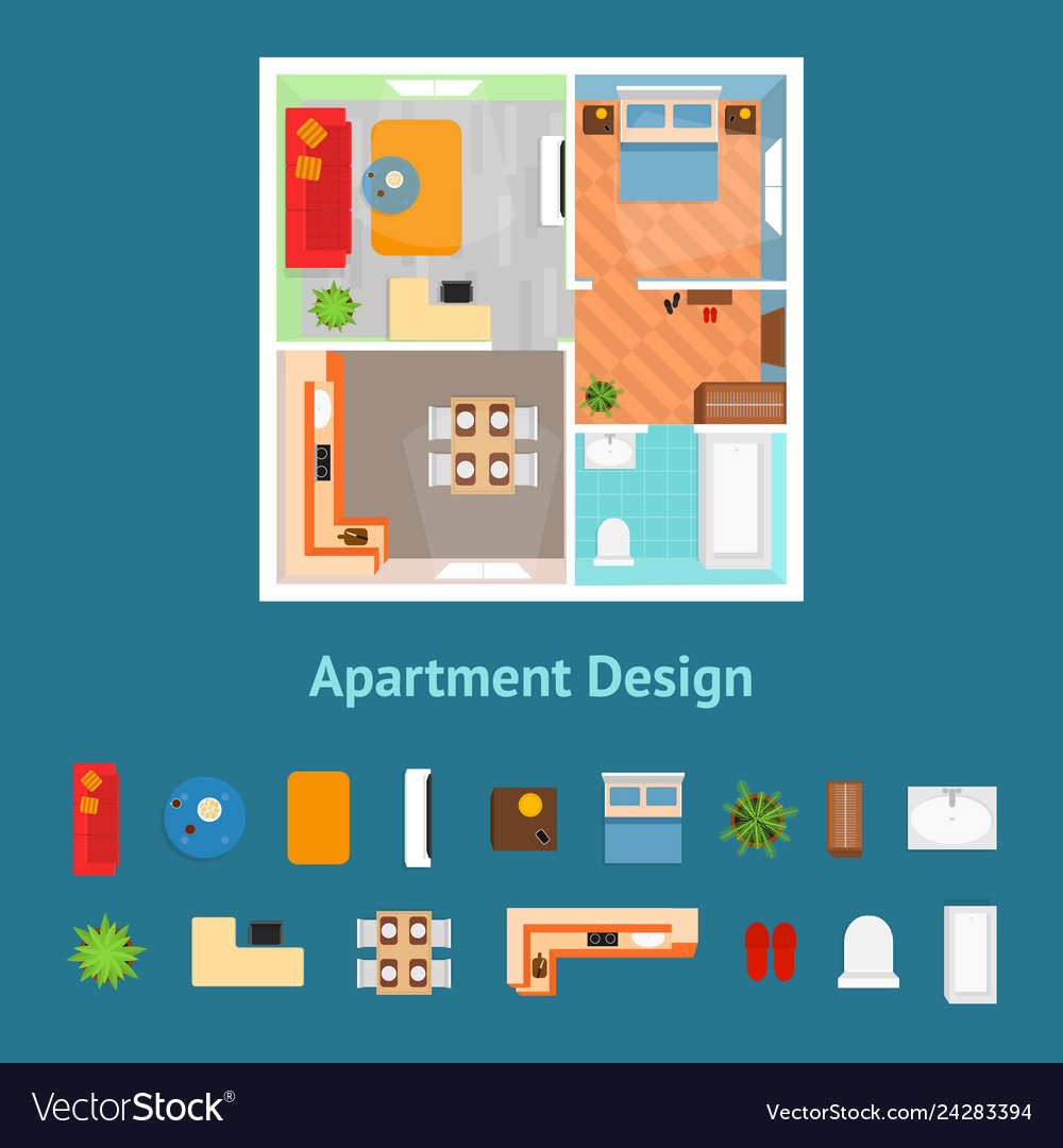 Cartoon Apartment Floor Plan Top View And Elements
