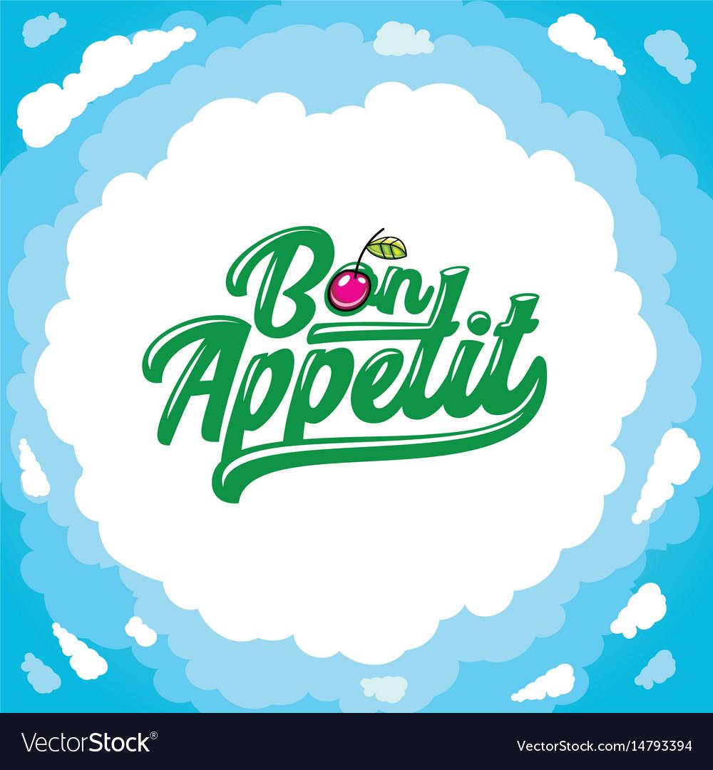 Cartoon frame bon appetit lettering cartoon