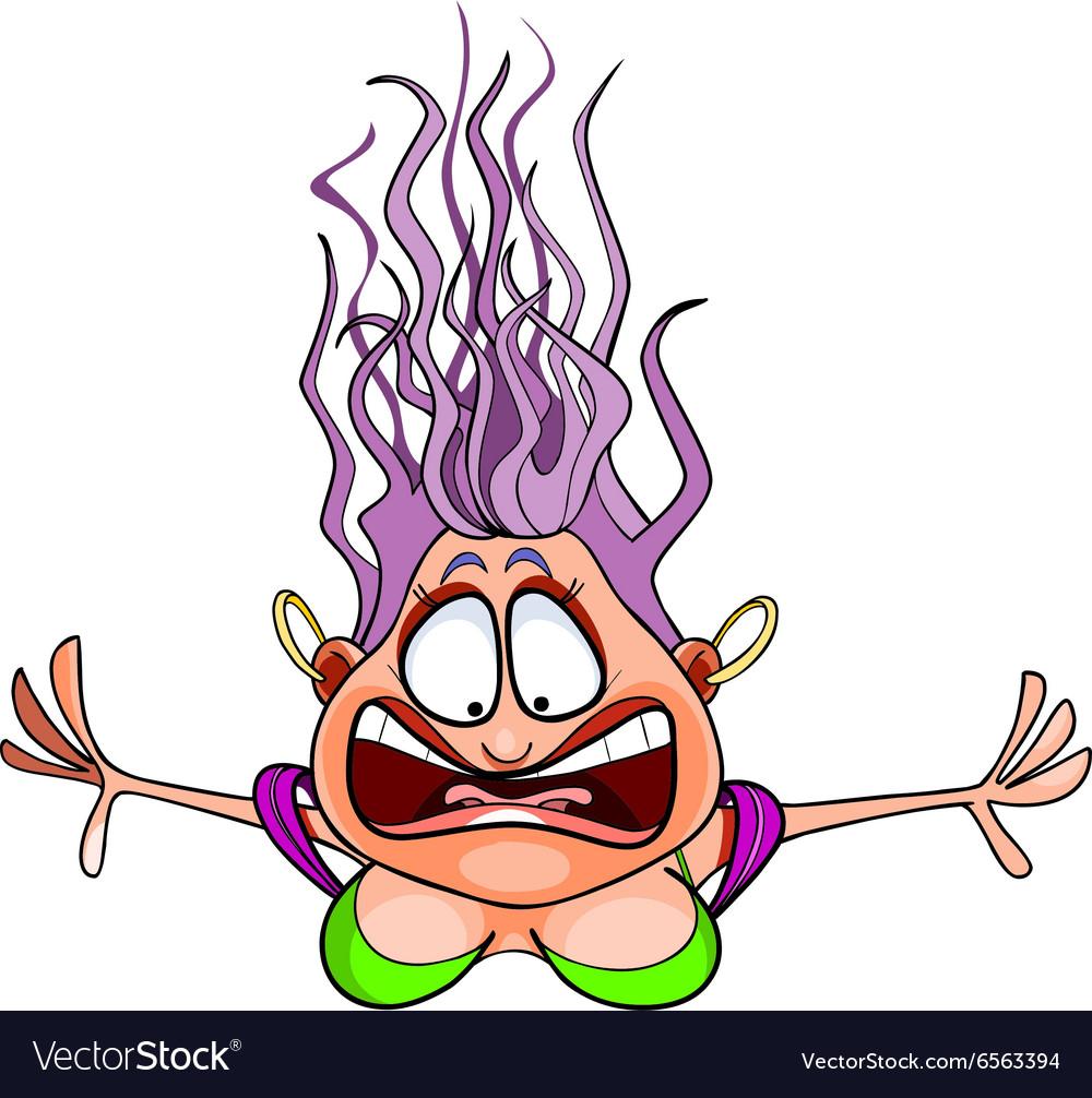 Cartoon frightened woman flies with bulging eyes vector image