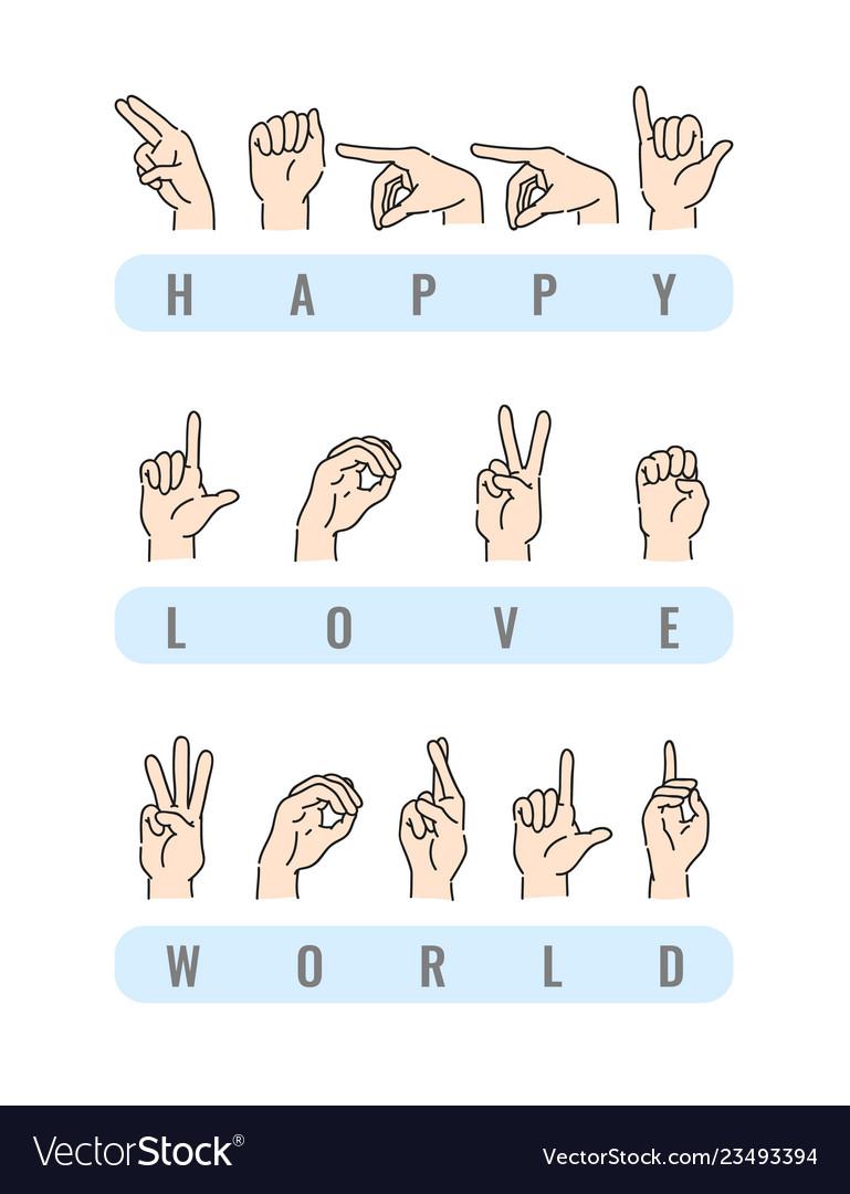 Deaf-mute alphabet with hand gestures set
