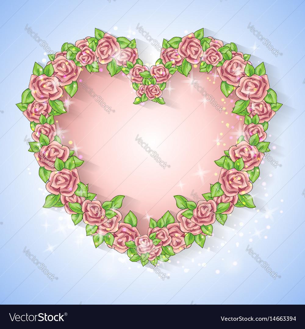 Festive card for a wedding or a birthday wreath of