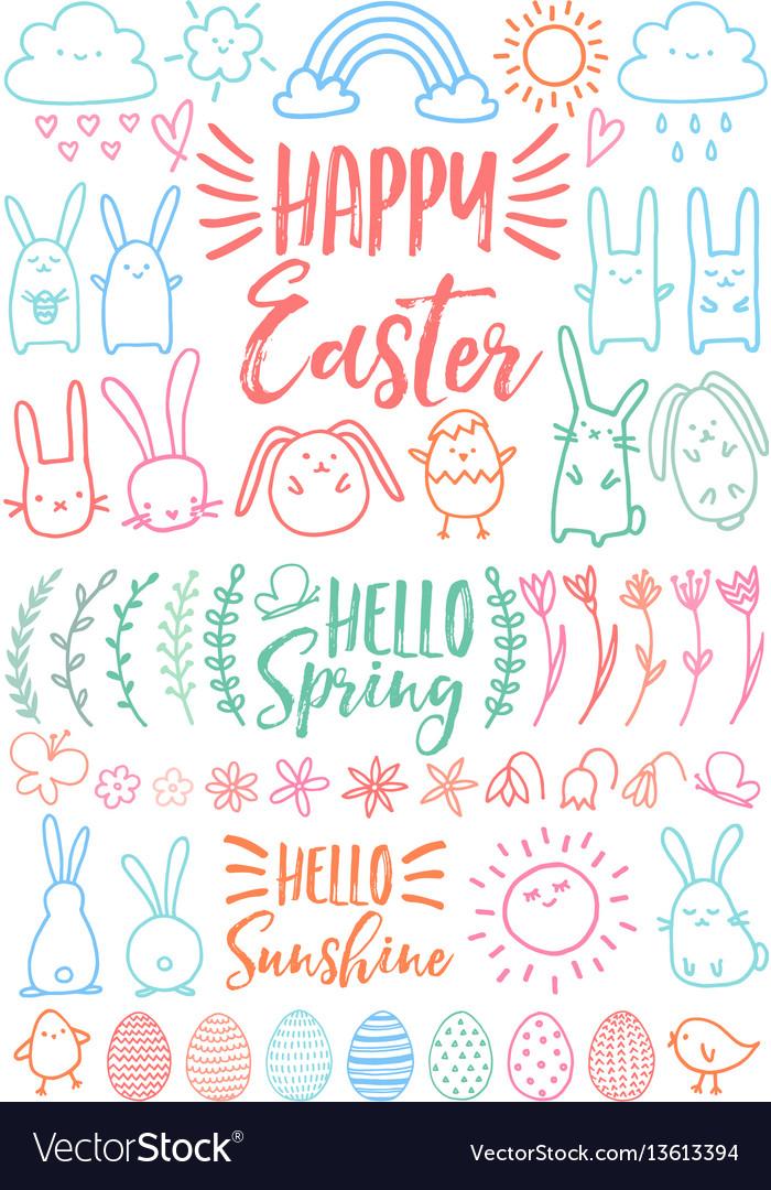 Happy easter set doodles