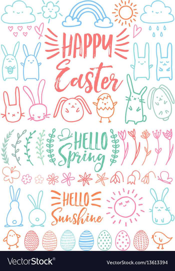Happy easter set of doodles