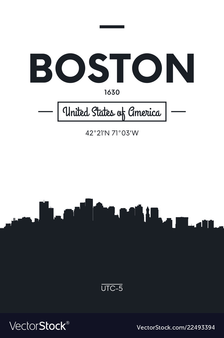 Poster city skyline boston flat style