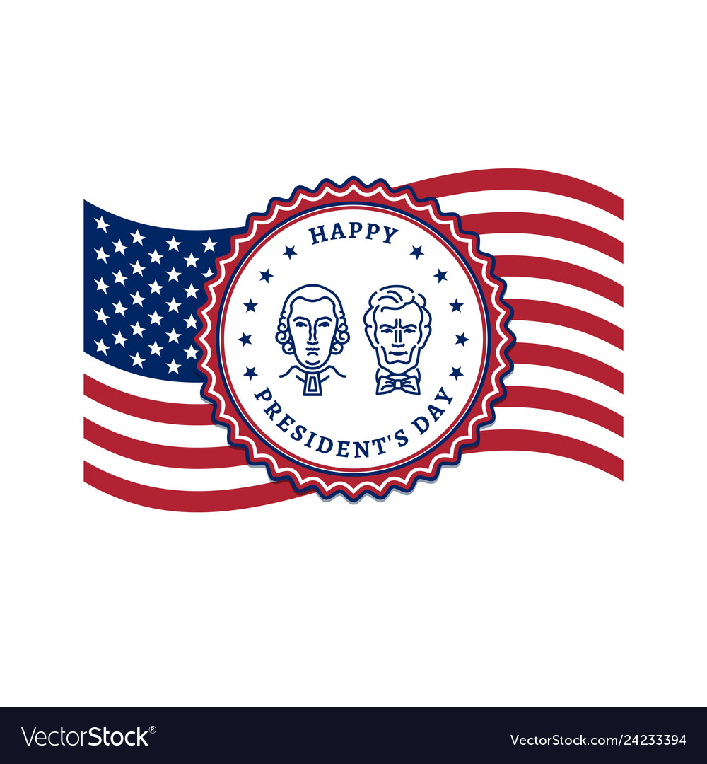 Presidents day card usa flag and presidents day