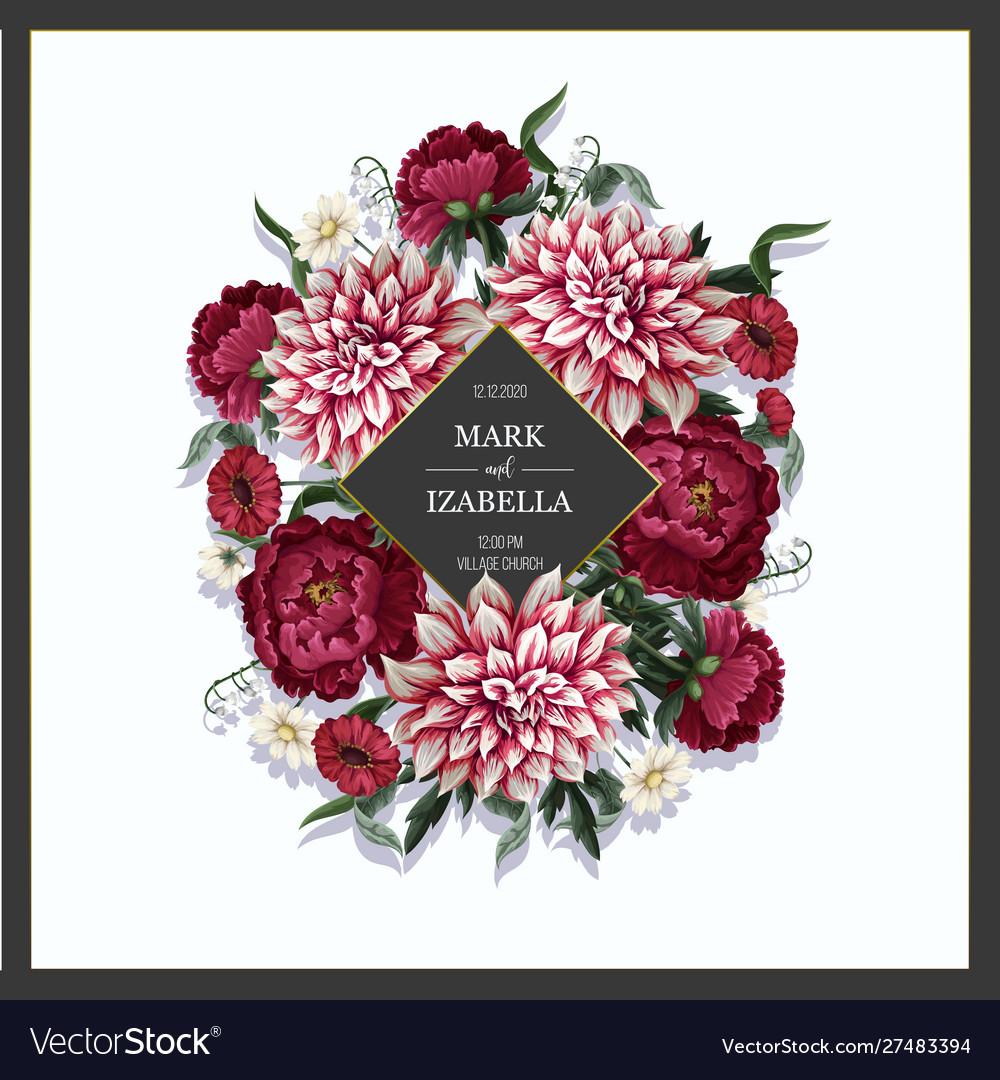 Wedding invitation with dahlia peonies and wild