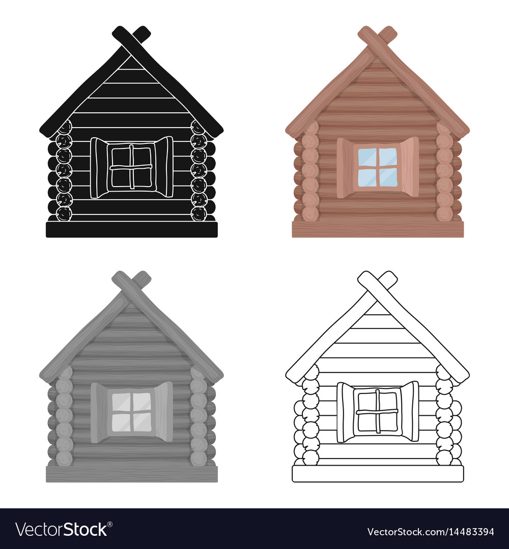 Wooden house icon in cartoon style isolated on vector image