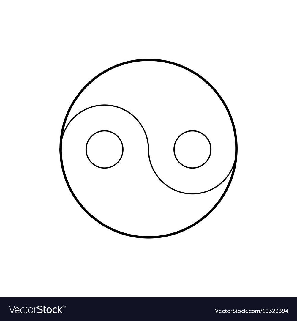 Yin Yang symbol icon outline style