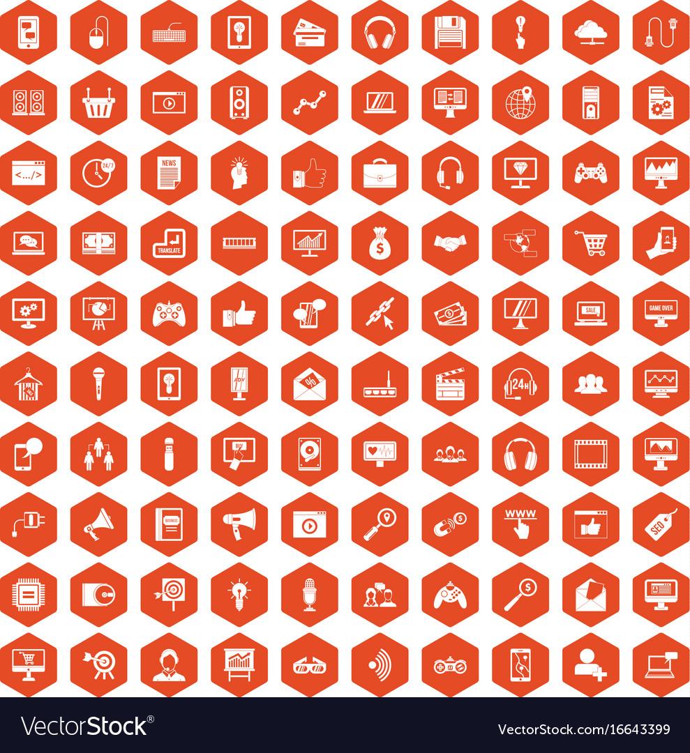100 web and mobile icons hexagon orange vector image