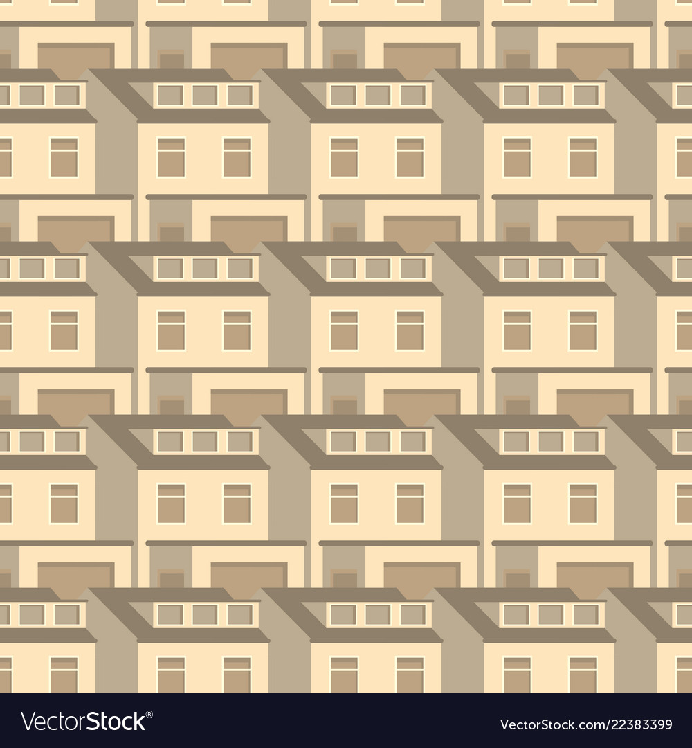 3d homes seamless pattern design vintage flat
