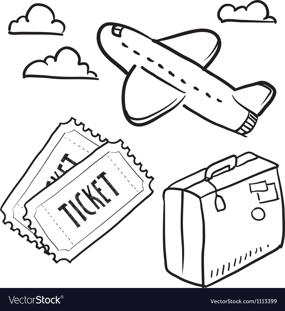 Doodle travel plane flight vector image